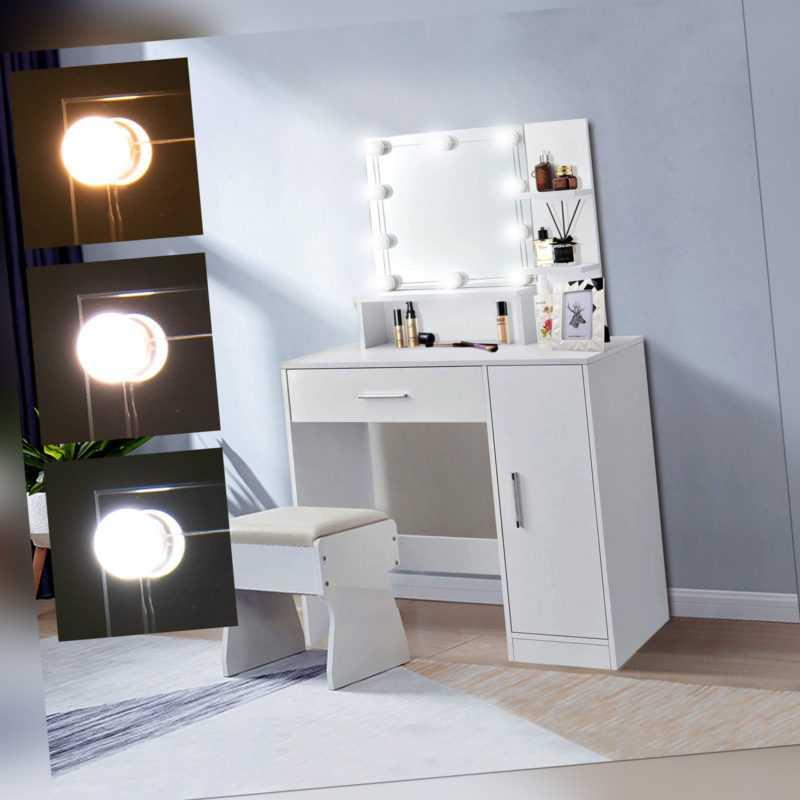 Schminktisch Kosmetiktisch Frisiertisch Frisierkommode Kommode Spiegel LED Weiß