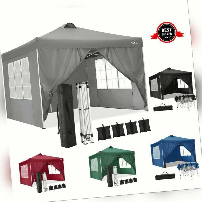 COBIZI® Pavillon 3x3m Wasserdicht Gartenzelt Partyzelt Popup Zelt Camping PVC