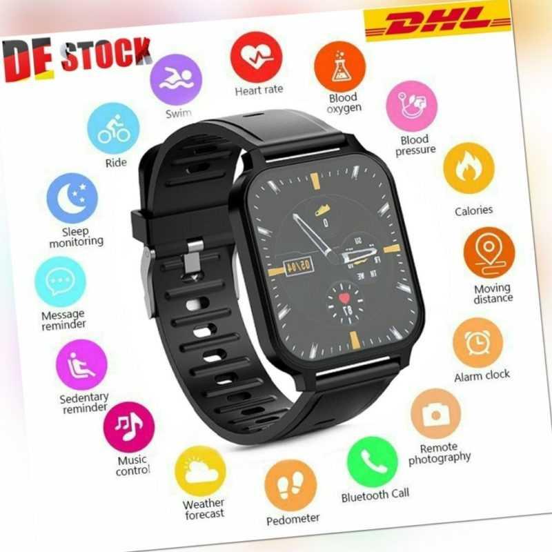 Bluetooth 5.0 Smartwatch Armband Pulsuhr Blutdruck Herren Damen Fitness Tracker