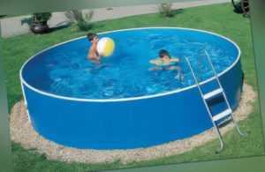 Schwimmbecken Stahlwandpool Set Leiter 2,40 x 0,9 Rund Rundbecken Aufstellbecken