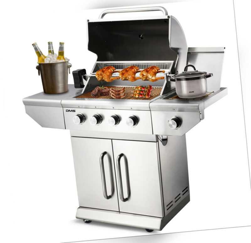 DMS® Gasgrill Edelstahl Grillwagen BBQ Grill 4 Brenner + Seitenbrenner Drehspieß