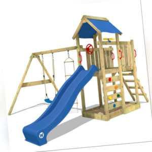 WICKEY Spielturm Klettergerüst MultiFlyer mit Schaukel, blauer Rutsche & Plane