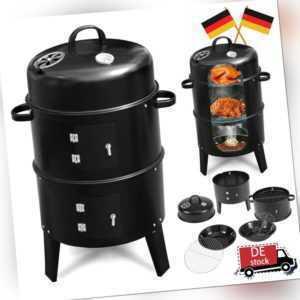 BBQ Holzkohlegrill Barbecue Räuchertonne Räuchergrill Grilltonne Smoker 3 in 1