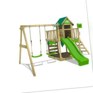FATMOOSE Spielturm Stelzenhaus JazzyJungle mit Schaukel & apfelgrüner Rutsche