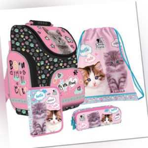 Katze Cat Schulranzen Tornister Ranzen Schulrucksack Set 4 teilig rosa