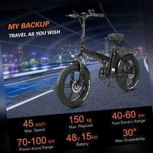 20 Zoll E-Bike Elektrofahrrad Mountainbike Klapprad Citybike Fatbike 750W 45KM/H