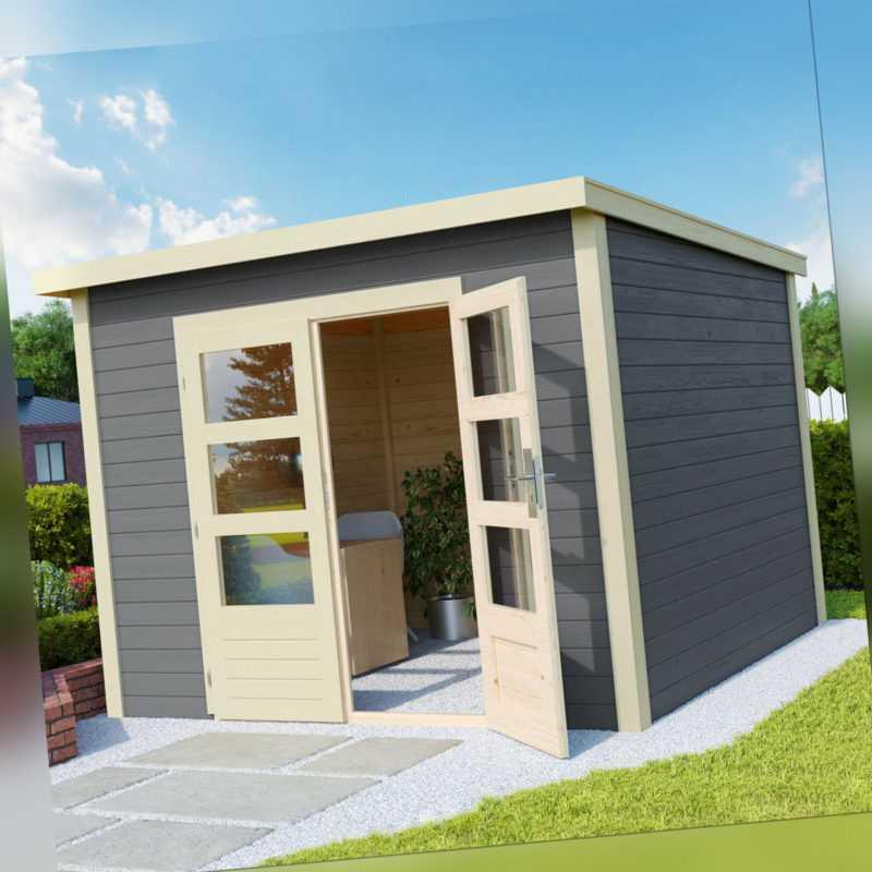 Gartenhaus Gerätehaus Geräteschuppen Holz Blockhaus HORI Skagen grau 28 mm
