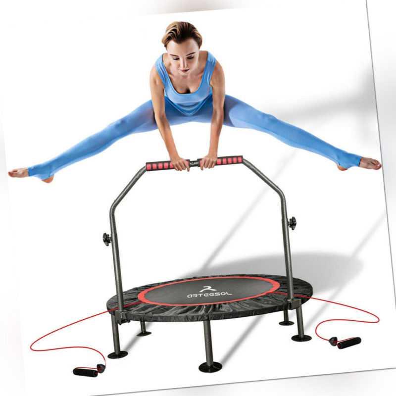 arteesol Ø101cm Fitness Trampolin mit Griff Faltbar Minitrampolin Jumping Sport