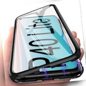 Hülle Magnet für Huawei P40 Lite Schutzhülle Glas Cover Handy Tasche Armor Case