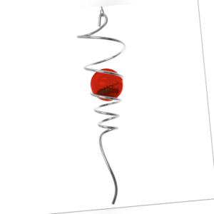 CIM Metall Windspiel Spiral Tail Rot 7cmx28cm Kugel: Ø5cm Haus und Gartendeko