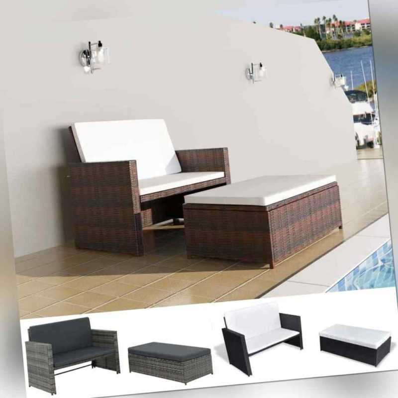 vidaXL Gartenmöbel 5-tlg. Poly Rattan Sofa Lounge Sitzgruppe mehrere Auswahl S