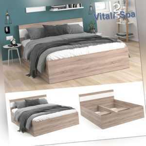 Bettgestell Holzbett Doppelbett Adria 160x200cm mit Kopfteil Ehebett VitaliSpa