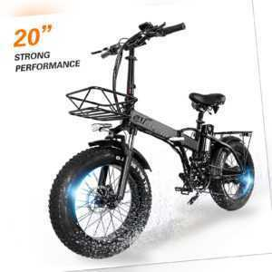 "20"" Fahrrad Elektrofahrrad Fetter Reifen 48V 750W E-bike 45km/h 15A Mehrspeich"