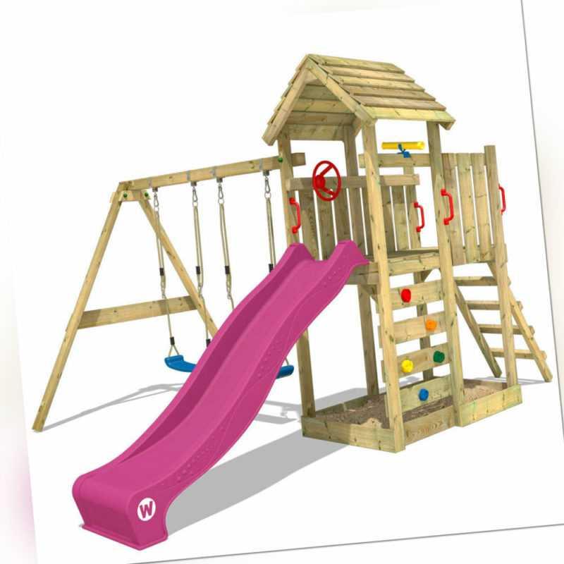 WICKEY Spielturm Klettergerüst MultiFlyer mit Holzdach & violetter Rutsche