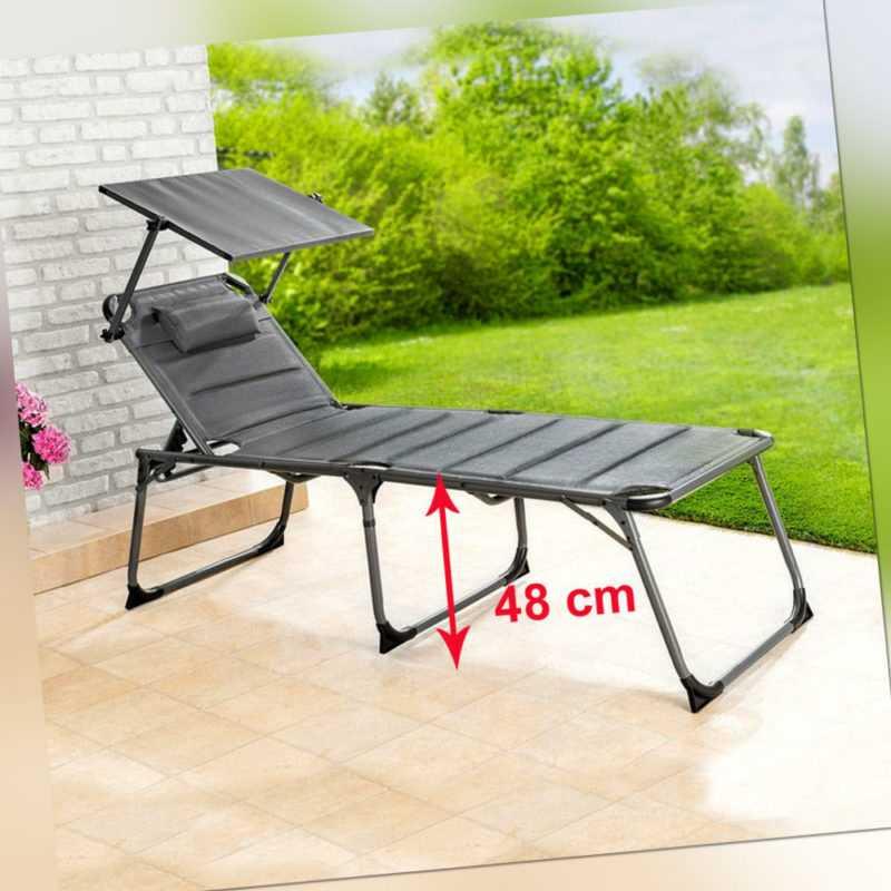 XXL Alu SONNENLIEGE mit Komforthöhe 48cm Gartenliege mit Sonnendach anthr 6901-2