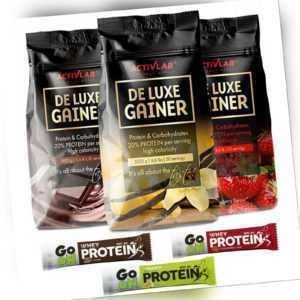 De Luxe Gainer 3kg Whey Protein Pulver extrem Muskelaufbau 3x Eiweiß Riegel