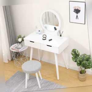 Schminktisch Kosmetiktisch Frisiertisch Frisierkommode Spiegel weiß modern E 03