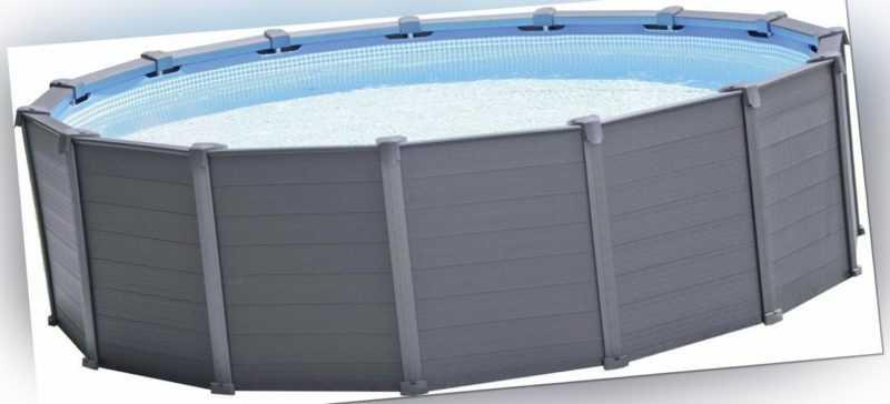 Intex Frame Pool Set Graphit Ø 478 x 124 cm Schwimmbecken Swimmingpool Rund