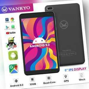 "Vankyo 8"" Zoll GPS WiFi Tablet Android 9.0 32GB Quad Core Dual Kamera Unlocked"