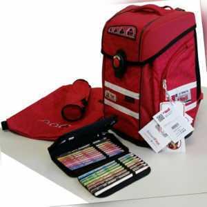 McNeill Ergo PRIMERO Schulranzen-Set 4-teilig Schultasche Schoolbag Mädchen Rot