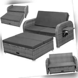 B-WARE Polyrattan Lounge Gartenmöbel Gartensofa 2er Sitz Outdoor Sitzgruppe Grau