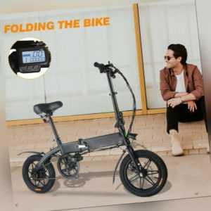 14 Zoll Faltbare City E-Bike Fahrrad 250W Elektrofahrrad Schwarz Pedelec Unisex