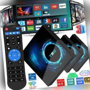 4G+64G Android 10.0 Quad Core 6K HD Smart TV BOX WIFI Netzwerk Media Player T95