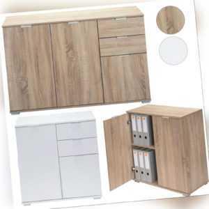 Sideboard Kommode Mehrzweckschrank Schubladen Holz Flur Eiche Weiß Matt DEUBA
