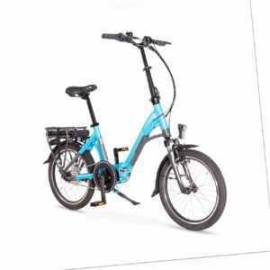 Alu-Elektro-Faltrad Klapprad, wartungsfreier 250 Watt Mittelmotor, E-Bike