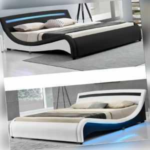 Polsterbett Malaga LED Design Doppelbett Bettgestell Lattenrost Juskys®