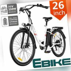 26''E-BIKE Elektrofahrrad Mountainbike 250W/36V Shimano 7-Gänge Pedelec Damen__