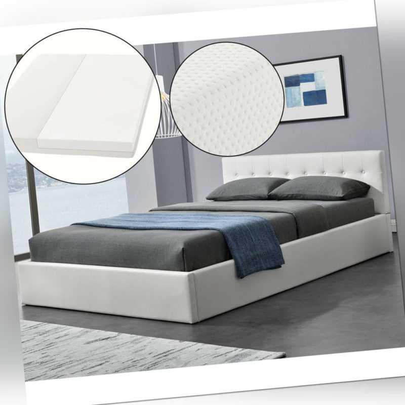 Polsterbett Doppelbett weiß Bettgestell + Bettkasten Matratze 140x200cm Juskys®