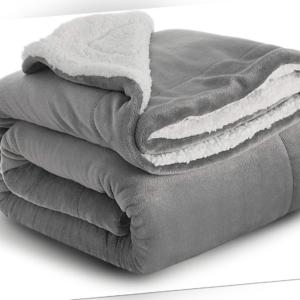 Wohndecke Kuscheldecke BEDSURE Hochwertige Sherpa Decke Grau extra