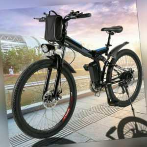 Klapprad E-Bike Mountainbike,26 Zoll Elektrofahrrad Faltrad Fahrrad 350W E h 55
